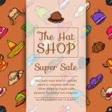Иллюстрация вектора знамени магазина рынка магазина шляп Различный плакат аксессуаров ткани крышки стиля продажи одежды сезонно иллюстрация вектора