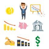 Иллюстрация вектора значка вклада дизайна финансов банковского дела экономики проблемы концепции символов кризиса Стоковая Фотография RF
