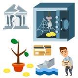 Иллюстрация вектора значка вклада дизайна финансов банковского дела экономики проблемы концепции символов кризиса Стоковые Изображения RF