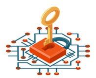 иллюстрация вектора значка предохранения от кибер интернета равновеликой технологии безопасности ключа сети 3d цифровая Стоковая Фотография RF