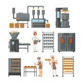 Иллюстрация вектора значка продукции хлеба установленная иллюстрация вектора