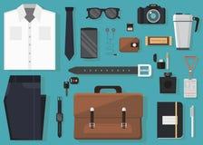 Иллюстрация вектора изо дня в день носит и оборудует accessorie в плоском стиле Стоковое Фото