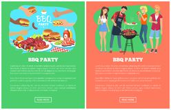 Иллюстрация вектора интернет-страниц собрания партии BBQ бесплатная иллюстрация