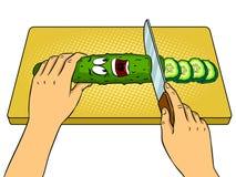 Иллюстрация вектора искусства шипучки огурца шаржа Стоковая Фотография