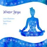 Иллюстрация вектора йоги зимы Стоковое Изображение