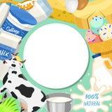 Иллюстрация вектора картины свежей концепции молочных продучтов круглая Органическая, качественная еда Большие вкус и питательная иллюстрация штока