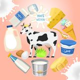 Иллюстрация вектора картины свежей концепции молочных продучтов круглая Органическая, качественная еда Большие вкус и питательная бесплатная иллюстрация
