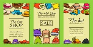 Иллюстрация вектора карт продажи магазина рынка магазина шляп Различный плакат аксессуаров ткани крышки стиля продажи одежды иллюстрация штока