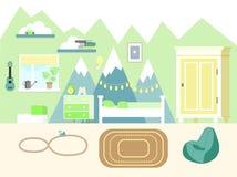 Иллюстрация вектора комнаты детей в плоском стиле со шкафом, книгами, гитарой гавайской гитары, кроватью, комодом ящиков и игрушк иллюстрация вектора