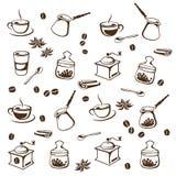Иллюстрация вектора комплекта кофе стилизованная Стоковая Фотография