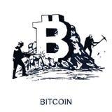 Иллюстрация вектора концепции минирования Bitcoin Стоковая Фотография