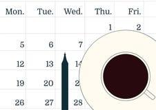 Иллюстрация вектора концепции промедления Чашка черного кофе на календаре и ручке Тетрадь или календарь Время к dri Стоковая Фотография RF