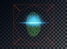 Иллюстрация вектора концепции просматривать отпечаток пальцев, световой эффект лазера голубой Элемент вектора изолированный на те иллюстрация вектора