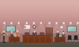 Иллюстрация вектора концепции слушания суда плоская Стоковые Фотографии RF