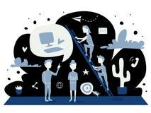 Иллюстрация вектора концепции стратегии голубой плоский график людей обсуждая дело, работу и достижения Плоский шарж дизайна иллюстрация вектора