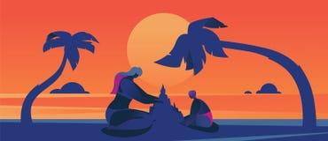 Иллюстрация вектора концепции с сценой захода солнца с сверхразмерной мамой и ребенк делая песок рокируют Цвета лета горячие, ярк Стоковые Изображения RF