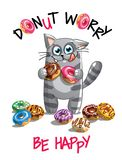 Иллюстрация вектора кота шаржа с donuts Стоковые Изображения