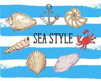Иллюстрация вектора краба анкера раковины стиля моря красная иллюстрация штока