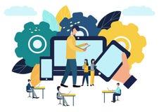 Иллюстрация вектора красочная сообщения над интернетом, социальных сетей, болтовни, видео, новостей, сообщений, вебсайта, поиска  бесплатная иллюстрация
