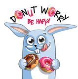 Иллюстрация вектора кролика шаржа с donuts Стоковые Изображения