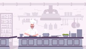 Иллюстрация вектора кухни ресторана внутренняя иллюстрация вектора