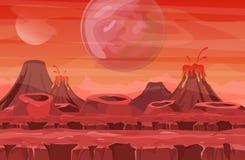 Иллюстрация вектора ландшафта космоса с красным взглядом планеты Горы и вулканы, другие планеты в небе сказово иллюстрация вектора
