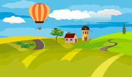 Иллюстрация вектора ландшафта сельской местности Стоковые Фото