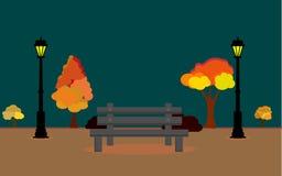 Иллюстрация вектора ландшафта Autum с полнолунием и листьями падая от дерева, timee поля осени вектора вечером, осени бесплатная иллюстрация