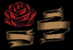 Иллюстрация вектора лент и розы на темной предпосылке иллюстрация штока