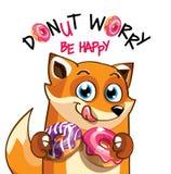 Иллюстрация вектора лисы шаржа с donuts Стоковое Изображение