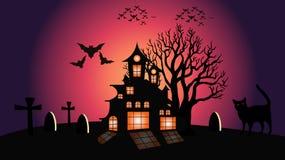 Иллюстрация вектора луны и кота хеллоуина иллюстрация штока