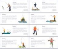 Иллюстрация вектора людей рыбной ловли установленная хобби бесплатная иллюстрация
