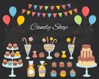 Иллюстрация вектора магазина конфеты, руки нарисованный стиль doodle иллюстрация штока