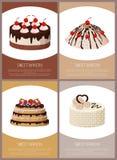 Иллюстрация вектора магазина страницы разнообразия тортов онлайн Стоковая Фотография