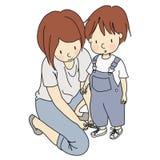 Иллюстрация вектора матери помогая милому маленькому ребенку связать шнурки иллюстрация вектора