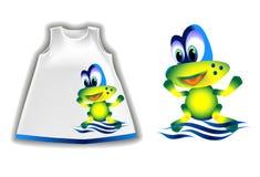 Иллюстрация вектора меньшей лягушки на одеждах детей бесплатная иллюстрация