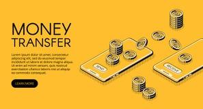 Иллюстрация вектора мобильного телефона денежного перевода иллюстрация штока