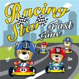 Иллюстрация вектора мультфильма гоночного автомобиля смешная животная иллюстрация вектора
