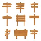 Иллюстрация вектора мультфильма деревянных шильдиков указателей установленная иллюстрация штока