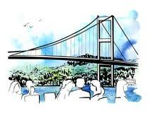 Иллюстрация вектора нарисованная рукой с мостом Стамбула Стоковое Изображение RF