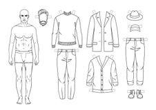 Иллюстрация вектора нарисованная рукой черно-белая парня в нижнем белье стоит в фронте Стоковая Фотография