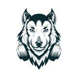 Иллюстрация вектора наушников волка Dj иллюстрация штока