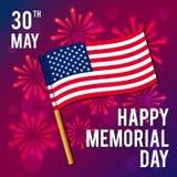 Иллюстрация вектора на национальный американский праздник Изображение флага мемориал дня счастливый Стоковая Фотография