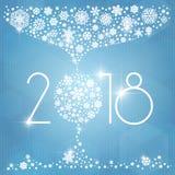 Иллюстрация вектора Нового Года 2018 с белыми снежинками Стоковая Фотография