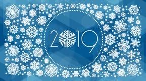Иллюстрация вектора Нового Года 2019 с белыми снежинками иллюстрация вектора