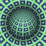 Иллюстрация вектора обмана зрения Checkered сфера витая над отверстием Зеленой объекты сделанные по образцу синью Стоковое фото RF