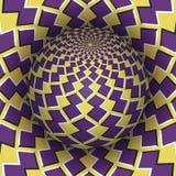 Иллюстрация вектора обмана зрения Checkered сфера витая над отверстием Желтым объекты сделанные по образцу пурпуром Стоковые Изображения