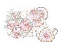 Иллюстрация вектора обслуживания комплекта чая иллюстрация вектора