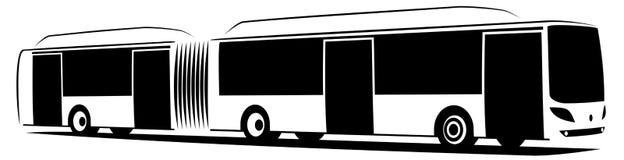 Иллюстрация вектора отчетливо произношенного автобуса города с 3 дверями стоковые изображения
