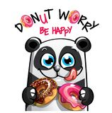 Иллюстрация вектора панды шаржа с donuts стоковое фото rf